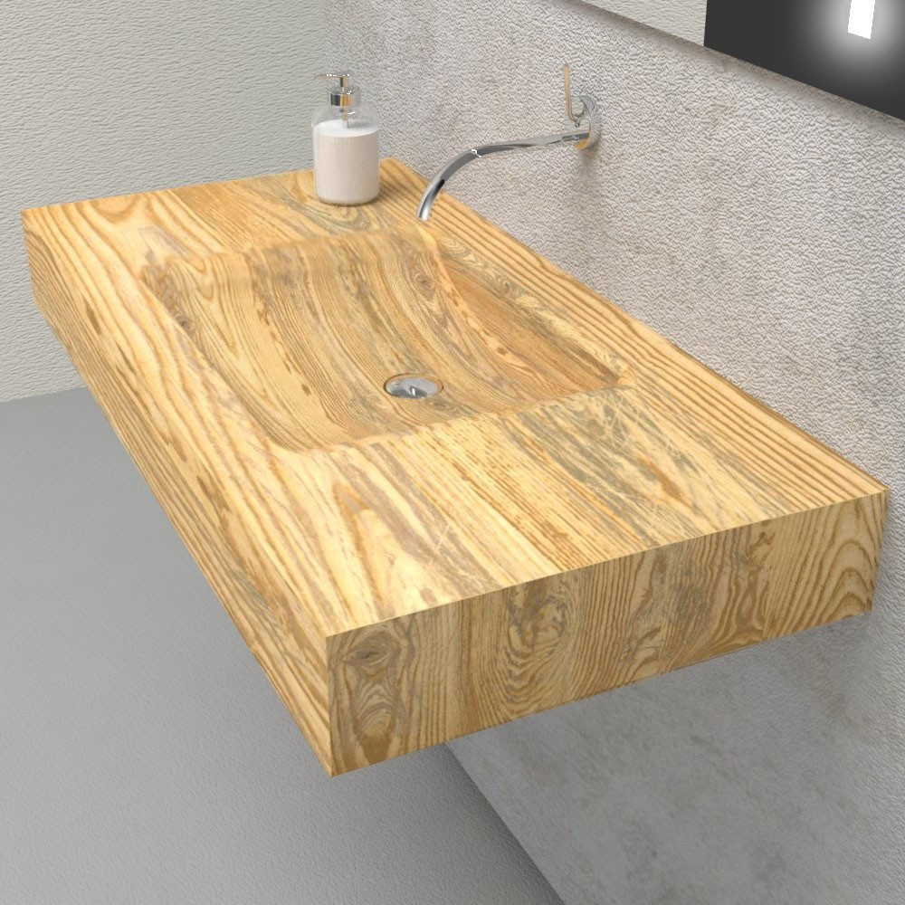 Solid wooden wash basin shelf with integrated sink