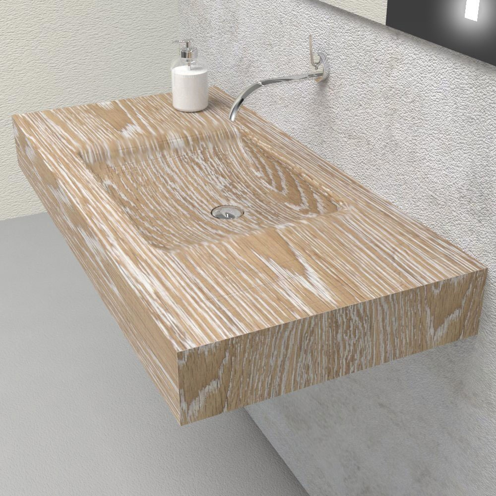 Wash Basin Shelf In Solid Wood With Integrated Sink