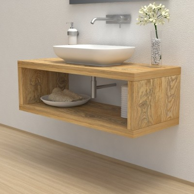 Solid wood wash basin shelf with storage compartment
