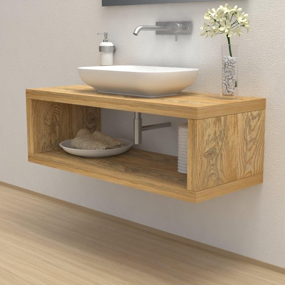 meuble bois massif tablette avec compartiment de rangement. Black Bedroom Furniture Sets. Home Design Ideas