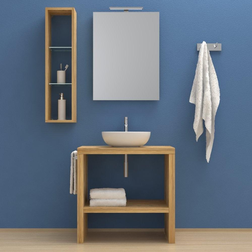 Estoril in legno massello - Mobile completo arredo bagno 80 cm