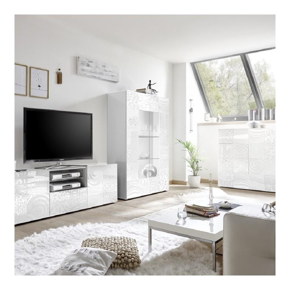 Set soggiorno Takao 2 bianco - Mobili soggiorno - Madie e contenitori
