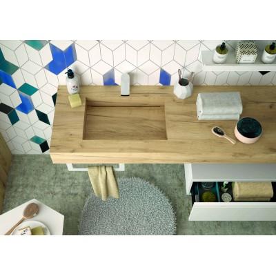 Stone integrated washbasin shelf - Oak Africa
