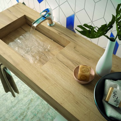 Stone integrated washbasin shelf - Oak Africa