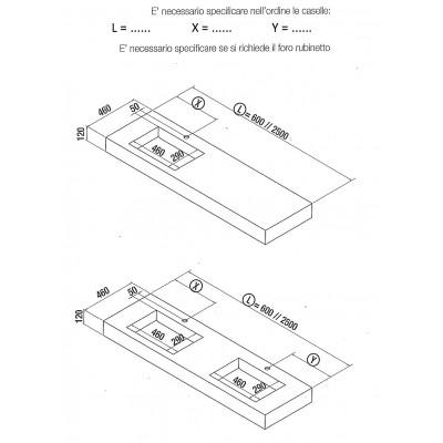 Stone integrated washbasin shelf - Gray marble