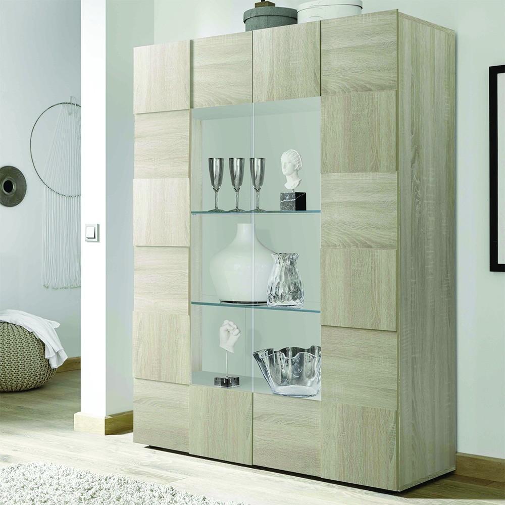 Madia con vetrina Scacco rovere - Madie - Mobili soggiorno