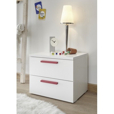 Juice bedside table white / red