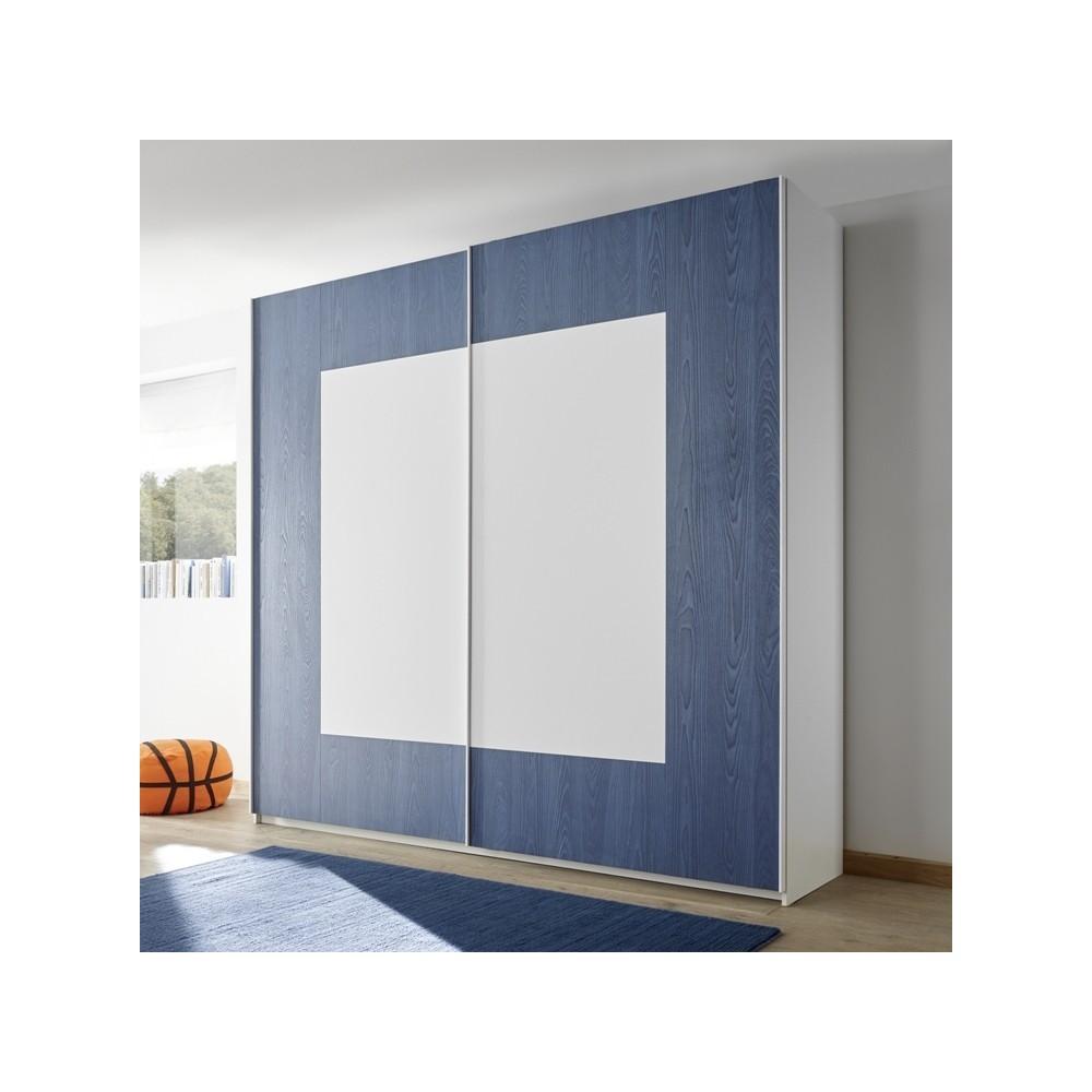 Meubles de chambre - Armoire Sky blanc bleu
