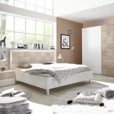 Camera completa Berlino bianca / rovere