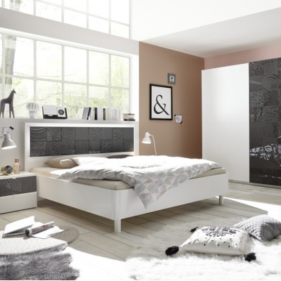 Berlino complete bedroom white / black