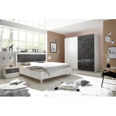 Chambre à coucher Berlino blanc / noir
