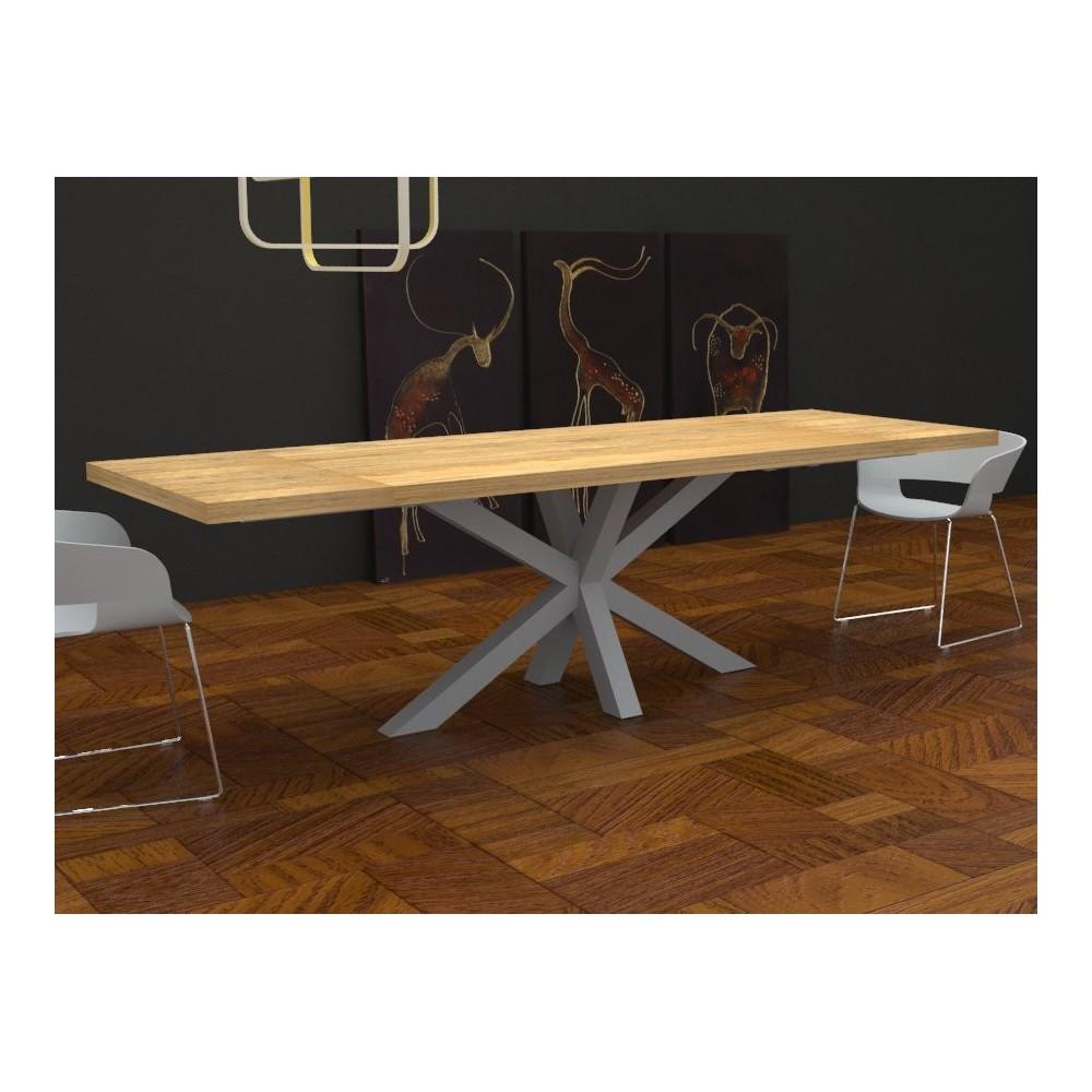 Tavoli da cucina - Tavolo allungabile Salomone in legno massello