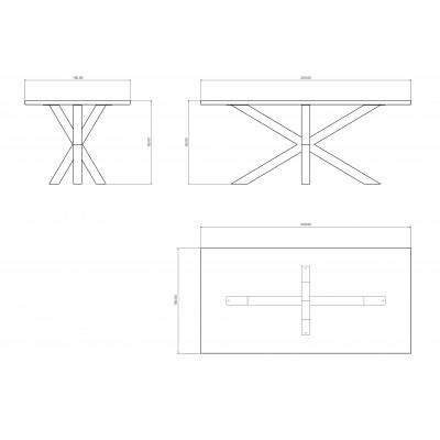 Salomone Table in irregular edge solid wood
