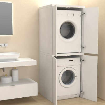 Column cover with doors for washing machine