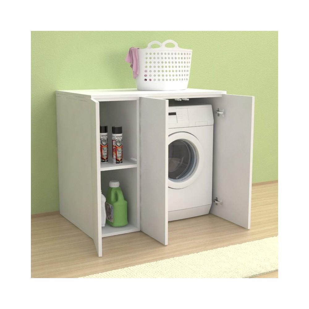 Meuble Lave Linge Seche Linge Colonne meuble couvercle machine à laver riga 105 avec portes - buanderie