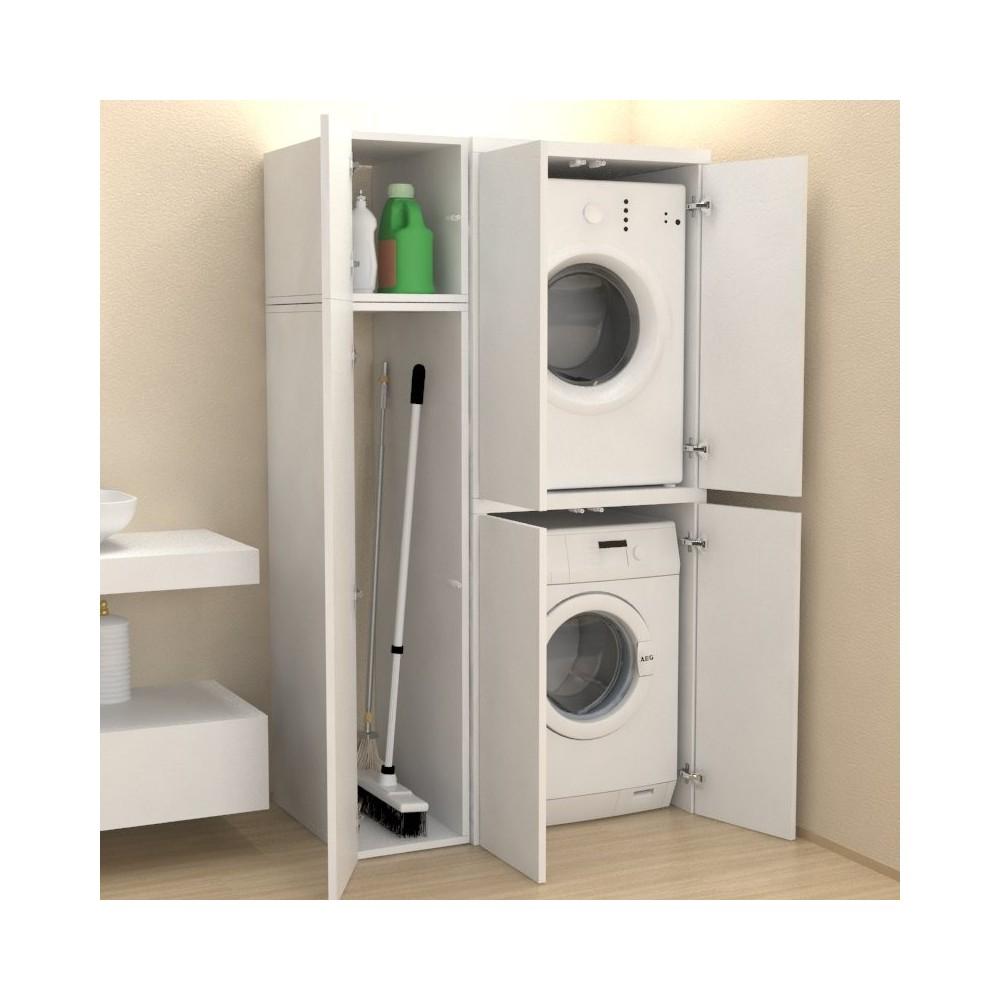 Mobile Colonna Lavatrice Asciugatrice colonna lavanderia + vano accessorio con ante