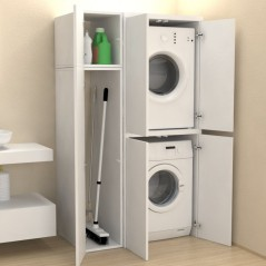Colonna lavanderia + vano accessorio con ante