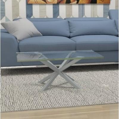 Tavolino basso Hawaii in vetro - telaio alluminio