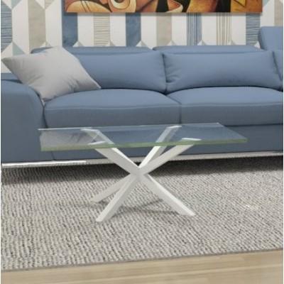 Tavolino basso Hawaii in vetro - telaio bianco