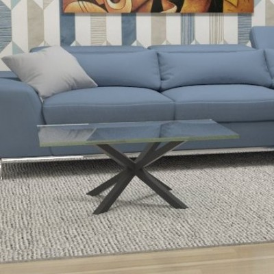 Hawaii glass coffee table - black structure