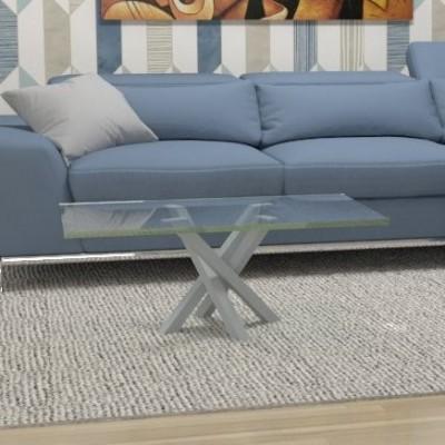 Tavolino basso Polinesia in vetro - telaio alluminio