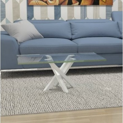 Polinesia glass coffee table - white structure
