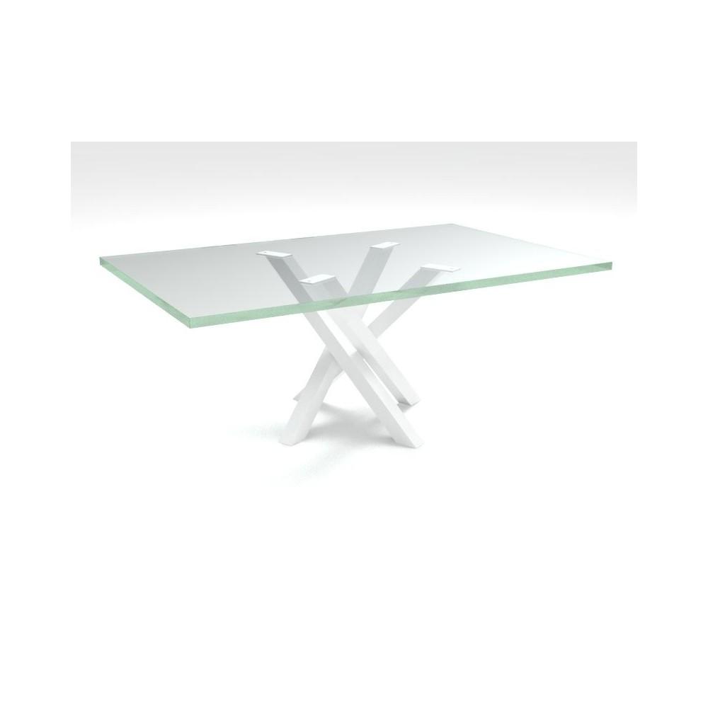 Tavolino basso Polinesia in vetro per soggiorno telaio bianco