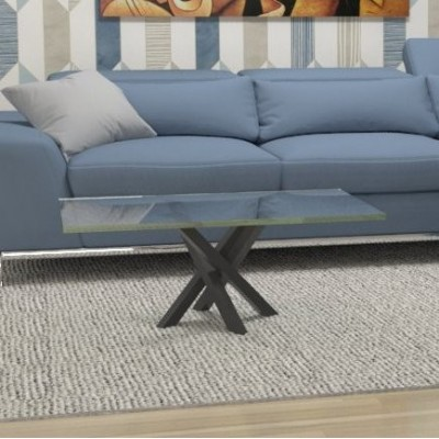 Polinesia glass coffee table - black structure
