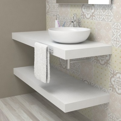 Wash basin shelf - White Ash