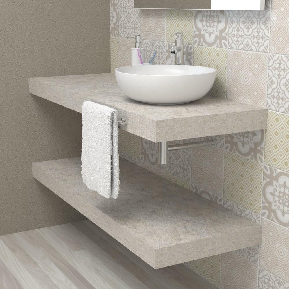 Mensola lavabo bagno - top mensolone legno Pietra di Nanto