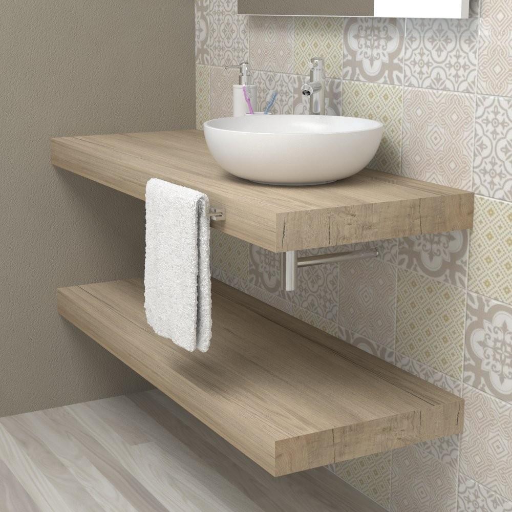 Mensola lavabo bagno - top mensolone legno Quercia sherwood