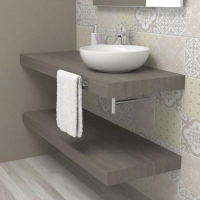 Mensola Top sospeso per bagno - Rovere grigio