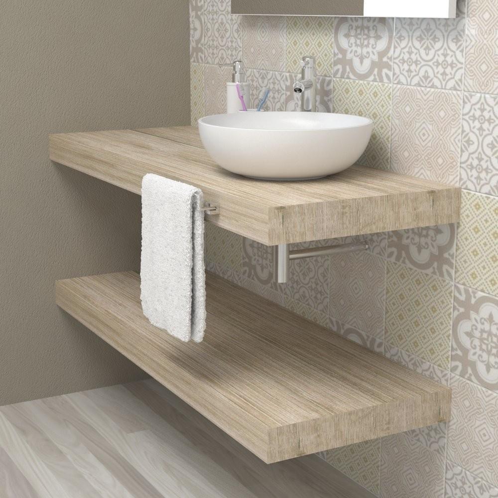 Ripiano lavabo appoggiato bagno - Rovere vintage