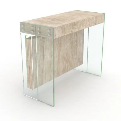 Consolle allungabile Crystal con porta allunghe