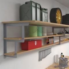 Shelf brackets for 3 garage shelves