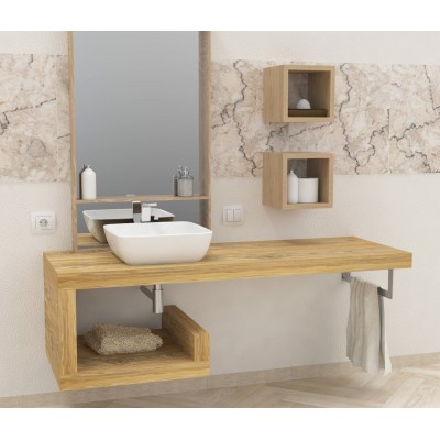 Solid wooden wash basin shelf