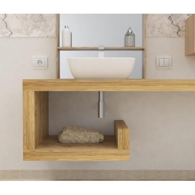 Console salle de bain bois massif