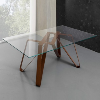 Eurosedia - Table Axel structure fixe en verre transparent