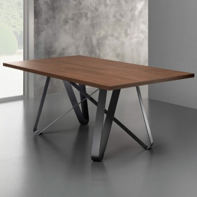 Eurosedia - Axel table fixed structure in laminated canaletto walnut