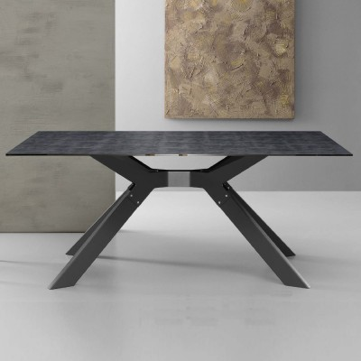 Eurosedia - Steel table fixed structure in ceramic slate glass