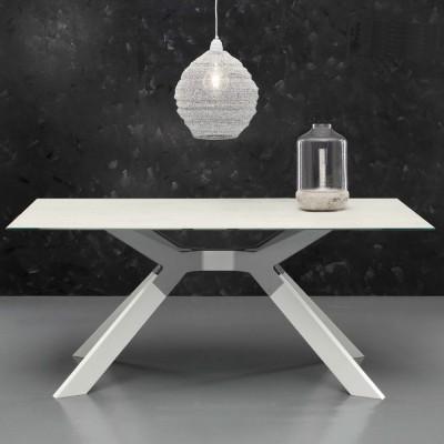 Eurosedia - Table Steel structure fixe en céramique ardoise verre