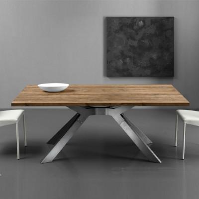 Eurosedia - Steel table extensible in slavonia durmast laminated