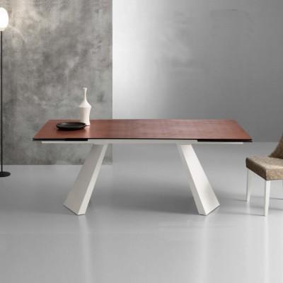 Eurosedia - Table Pechino extensible en céramique oxide corten verre