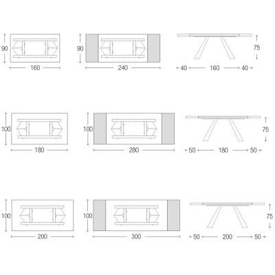 Eurosedia - Pechino table extensible in concrete oxide ceramic glass