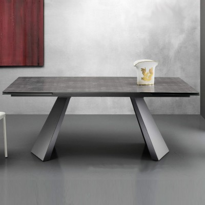Eurosedia - Table Pechino extensible en céramique oxide béton verre