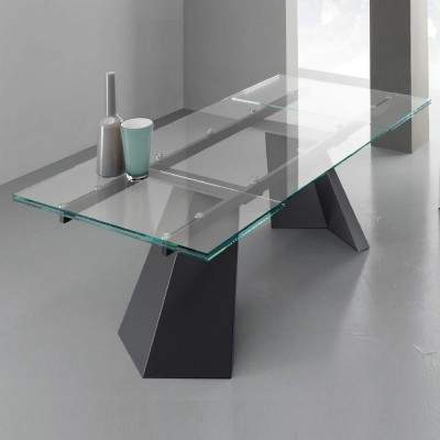 Eurosedia - Pechino table extensible in transparent glass