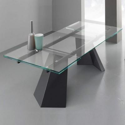 Eurosedia - Tavolo Pechino allungabile in vetro trasparente