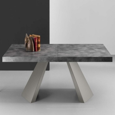 Eurosedia - Table Pechino extensible en béton stratifié folding