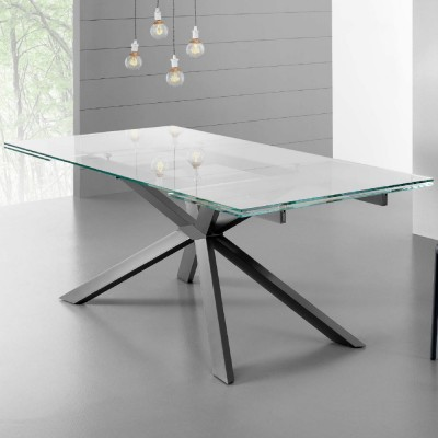 Eurosedia - Table Osaka extensible en trasparent verre