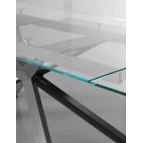 Eurosedia - Tavolo Osaka allungabile in vetro trasparente